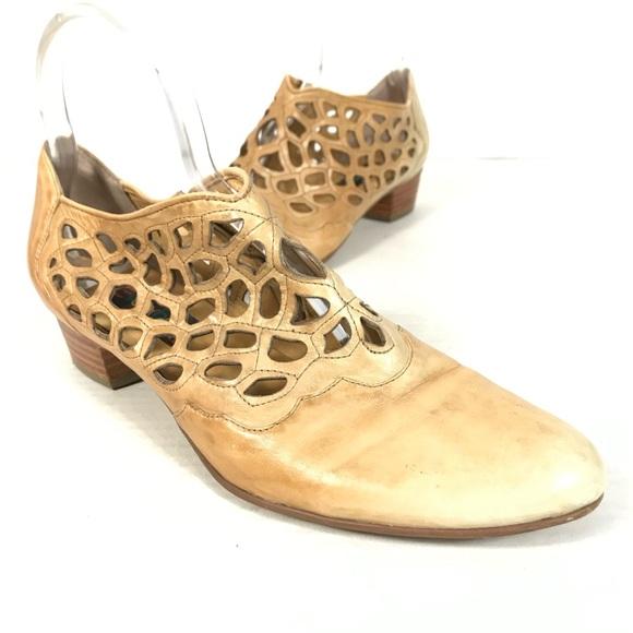 Vintage leather laser cut ankle boots